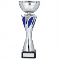 Silver And Blue Cup Trophy 10 inches 25.5cm : New 2020