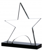 Clear star on black base 6.5 inches Trophy Award