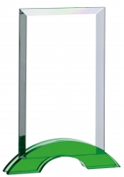 Rectangular glass green base 8 inches Trophy Award