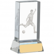 Football Glass Block With Player Trophy Award