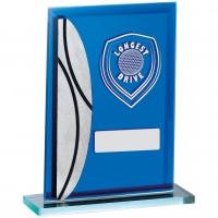 Golf Longest Drive Blue Mirrored Trophy Award