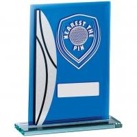 Golf Nearest The Pin Blue Mirrored Trophy Award