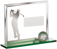 Golf Player On Green Base With Ball Trophy Award