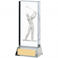 Golf Glass Block Trophy Award