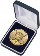 Golf ball and clubs medal and box 2.5 inches Trophy Award