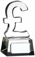 Clear Pound Sign Glass Trophy Award